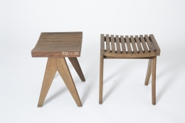 Pierre Jeanneret's pair of stools, full side and front view of both stools