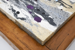 Paul Becker's coffee table stone and wood detail