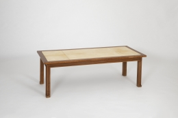 Jacques Adnet's coffee table, full view on a diagonal