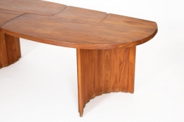 """Pierre Chapo's """"TGV"""" dining table, close up view of table top"""