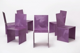 Forrrest Myers' Fold chairs, view of all chairs