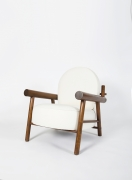 Attributed to Charlotte Perriand, pair of armchairs, single chair full diagonal view