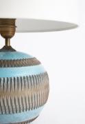 Jean Besnard's ceramic table lamp, detailed view of ceramic