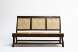 Pierre Jeannerets three-seat sofa straight front view without cushion