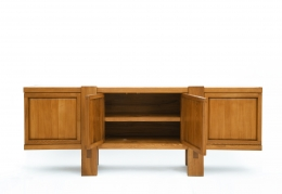 "Pierre Chapo's ""R16"" sideboard with two middle doors open"