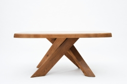 "Pierre Chapo's ""T35C"" dining table eye-level straight view"