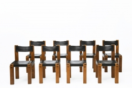 """Pierre Chapo's Set of eight """"S11E"""" chairs straight view of all chairs"""