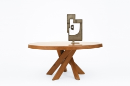 "Pierre Chapo's ""T21E"" dining table, full view with Alain Douillard's sculpture on top"