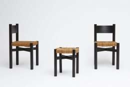 """Charlotte Perriand's set of 4 """"Meribel"""" chairs, side and front view with one Perriand stool"""