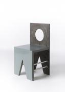 Laura Johnson Drake's metal and wood chair, full diagonal view