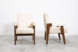 """Le Corbusier, Pierre Jeanneret & Jeet Lal Malhotra's """"Advocate and Press"""" armchairs, front and side views"""