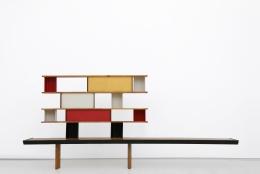 """Charlotte Perriand's """"Bibliothéque de la Maison de Tunisie"""" bookcase, full straight view"""