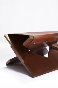 Hervé Baley's stool detail of wood and leather