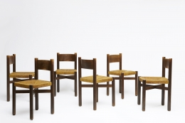 """Charlotte Perriand's set of 6 """"Meribel"""" chairs, view of all chairs"""