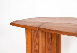 """Pierre Chapo's """"TGV"""" dining table, detailed view of table top and leg"""
