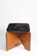 Hervé Baley's stool straight view with black cushion