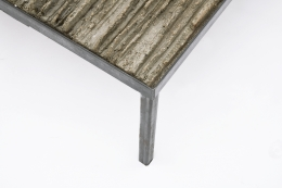 Anne Barrès' coffee table detail of clay and metal leg