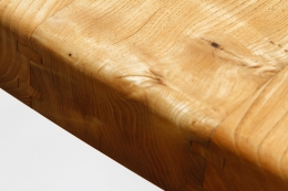 """Pierre Chapo's """"T20B"""" dining table detailed view of wooden top"""