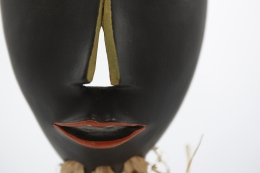 R. Weil's ceramic mask, detailed view of nose and mouth