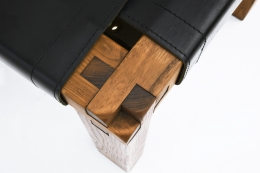 """Pierre Chapo's Set of eight """"S11E"""" chairs detail of leg joinery"""