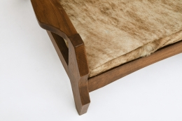 Unattributed pair of armchairs, detailed view of arm and upholstery
