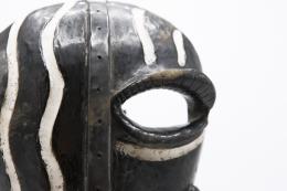 Jaque Sagan's ceramic mask, detailed view of eye and nose