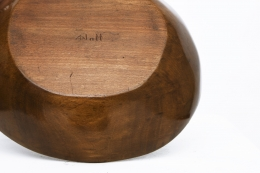 Alexandre Noll's wooden bowl, view of signature underneath