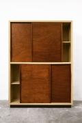 Le Corbusier's 4-door built-in closet, full straight view with doors slightly open