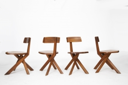 """Pierre Chapo's set of 4 """"S34"""" chairs, full view"""