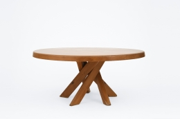 """Pierre Chapo's """"T21E"""" dining table, full view from eye-level"""