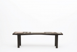 Pierre and Vera Székely's ceramic coffee table, full straight view from eye-level