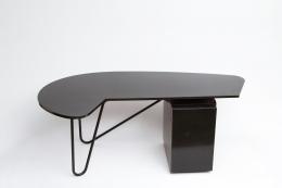 Edgard Pillet's black desk, full view from above