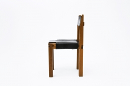 """Pierre Chapo's Set of eight """"S11E"""" chairs, single chair side view"""