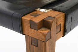 "Pierre Chapo's Set of eight ""S11E"" chairs detail of joinery"