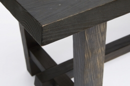 Charlotte Perriand's dining table, detailed view of legs and table top