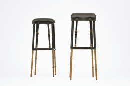 Jacques Adnet pair of bar stools front view