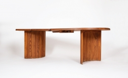 """Pierre Chapo's """"TGV"""" dining table, full view from eye-level"""