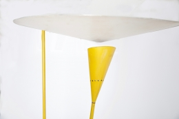 Michel Buffet's yellow floor lamp, detailed image of top and shade