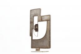 Alain Douillard's iron sculpture, front diagonal view