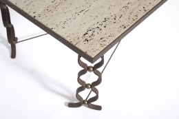 """Jean Royère's """"Ruban"""" coffee table, detailed view of legs and table top"""