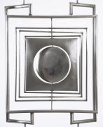 "Alain Douillard's ""Miroir aux Alouettes"" sculptural screen cropped photo of center metal form"