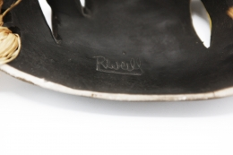 R. Weil's ceramic mask, detailed view of signature on the back of the mask