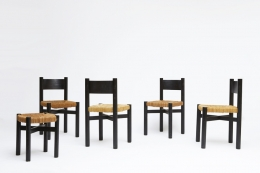 """Charlotte Perriand's set of 4 """"Meribel"""" chairs, view of all 4 chairs with one Perriand stool"""