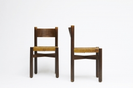 """Charlotte Perriand's set of 6 """"Meribel"""" chairs, front and side view of two"""
