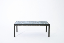 French 1960's blue ceramic coffee table straight full view