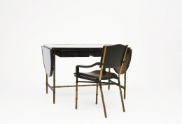 Jacques Adnet desk closed with chair