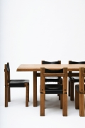 """Pierre Chapo's Set of eight """"S11E"""" chairs install view of chairs with Chapo's dining table"""