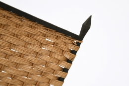 Marolles' chair detailed view of wicker and metal frame