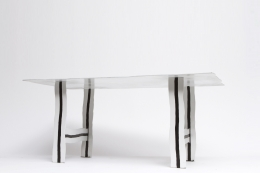 """Howard Meister's """"Red-Free"""" table, diagonal view from below"""