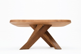 """Pierre Chapo's """"T35C"""" dining table straight view from under"""